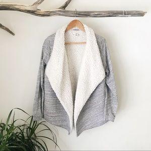 H&M | LOGG Sherpa Lined Cardigan Gray Ivory Cozy M